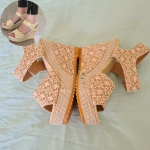 Women Wedges Shoes 5 Cream Knitted Shoes
